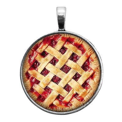 Cherry Pie Necklace Key Ring Cufflinks Tie Clip Round Ring Earrings Lattice Top Lattice Top Cherry Pie