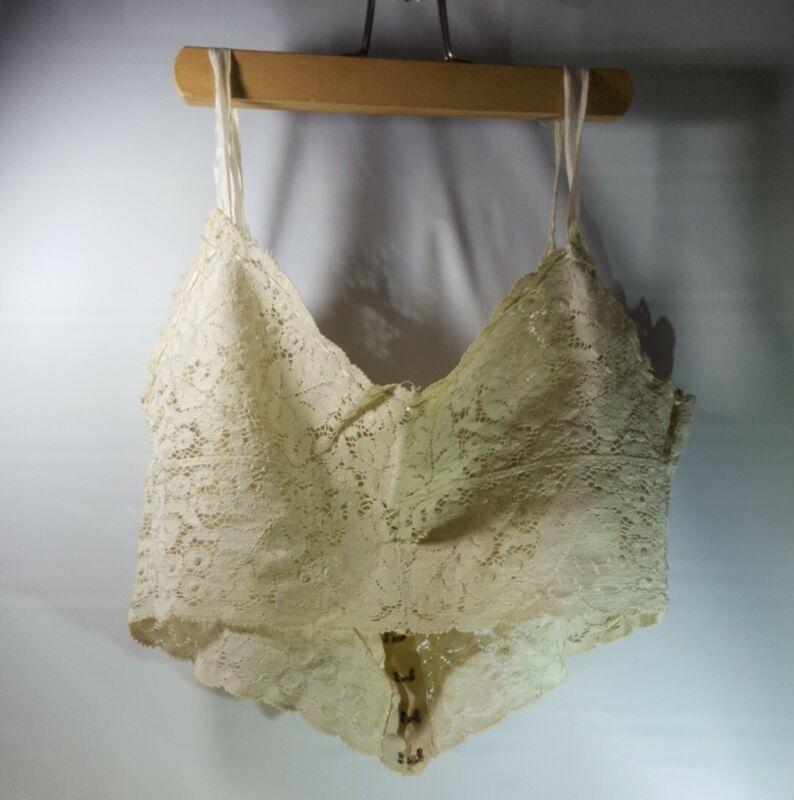 Antique Ecru Cotton Lace Edwardian Cropped Camisole Bralette Bust 36B...ish