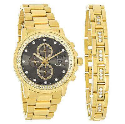 Citizen Eco-Drive Nighthawk Mens Gold Tone Bracelet Watch FB3002-61E