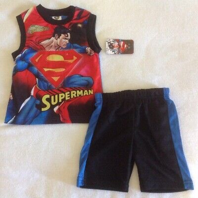 Boy's DC Comics Superman Outfit Sz 4T Shirt Shorts Superhero New 2 Piece Set  (Boys Superman Outfit)