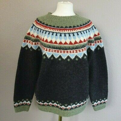 EUC! Eddie Bauer Womens Size Large Nordic Fair Isle Crew Sweater 100% Wool for sale  Shipping to Canada