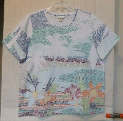 CJ Banks Tropical print knit top, short sleeve, multi color, Size 1X, 2X, 3X NWT ()