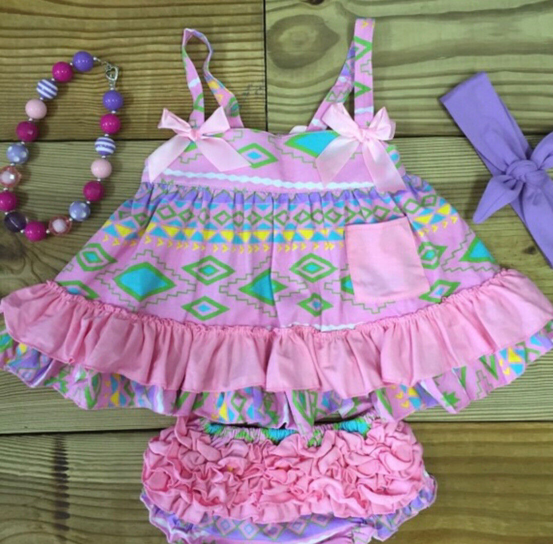 Baby Toddler Girl Summer Swing Top Bloomers Ruffled Boutique