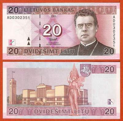 P66  Litauen / Lithunia  20 Litas  2001  UNC