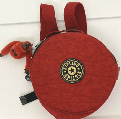 KIPLING Red Round Backpack Bag with Carlos Monkey Key Chain