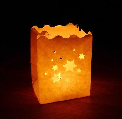 Luminaria Lichttüten mit Sterne Motiv | Tisch Dekoration Winter Weihnachten