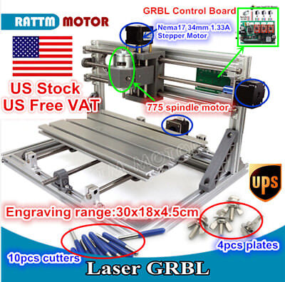 Diy Mini 3 Axis 3018 Cnc Router Milling Wood Carving Engraver Laser Machine Us