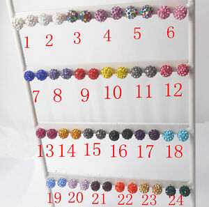 27Colors 10Pairs SHAMBALLA Disco Beads Crystal 925 Sterling Silver Stud Earrings
