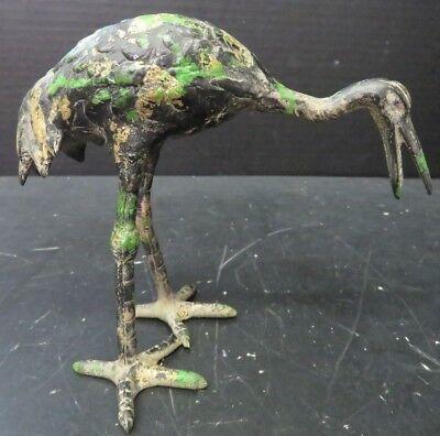 "Vintage Hand Painted Green Gold & Black Cast Iron Crane 5.87"" Figurine Excellent"