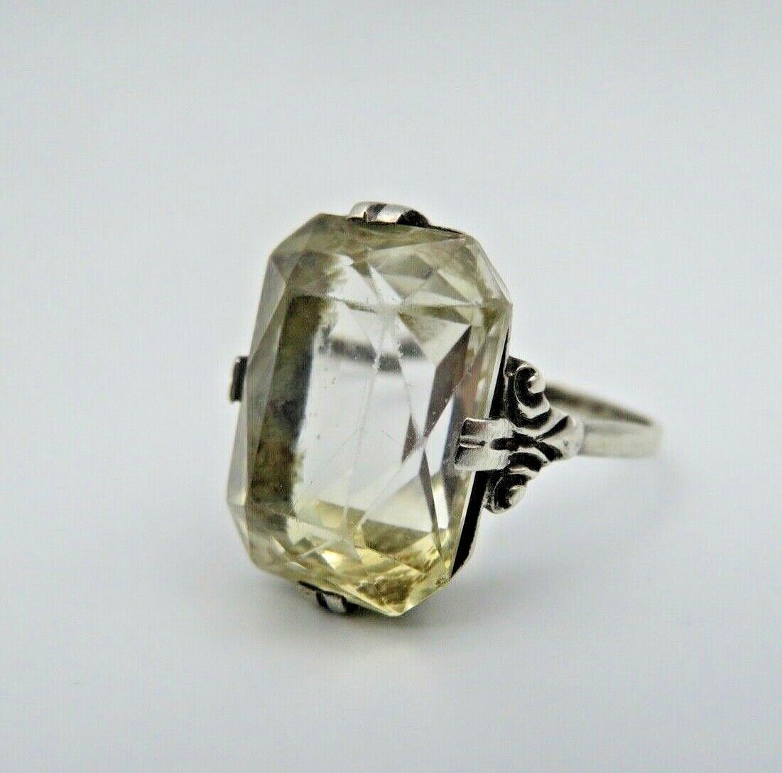 Traumhafter Art Deco Citrin Ring 800 Silber Gr.60 (A)