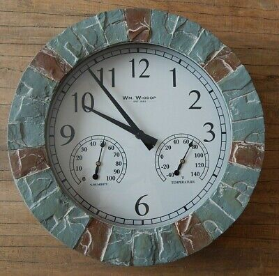 Clock Thermometer Stone (STONE EFFECT OUTDOOR WALL CLOCK WITH THERMOMETER & HYGROMETER WEATHER)