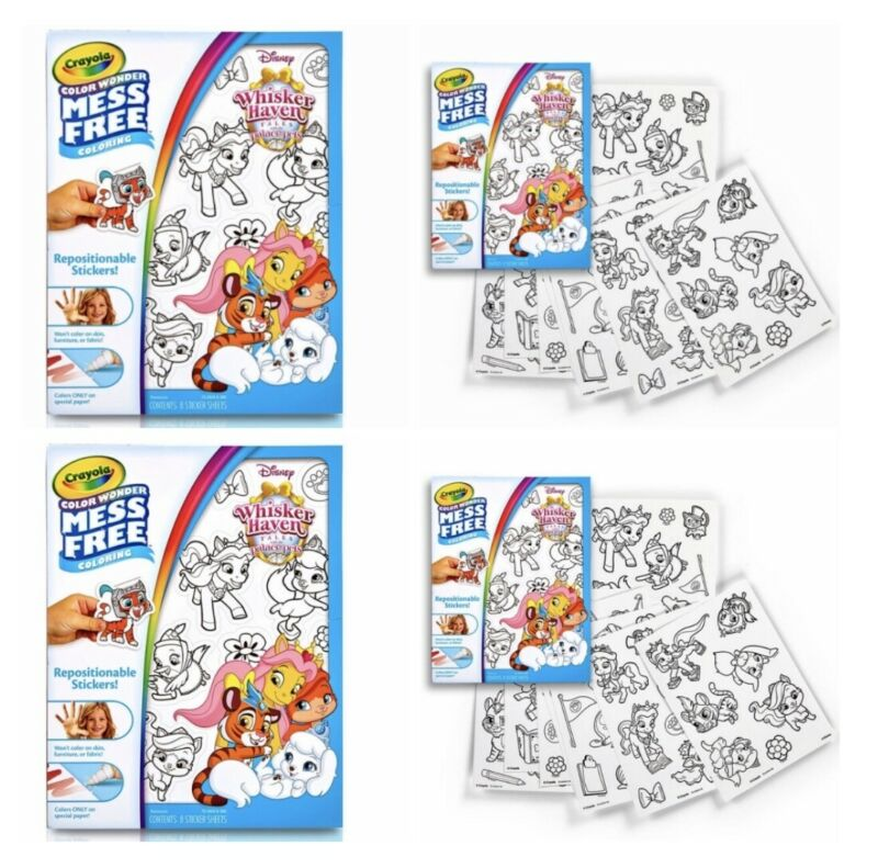 Color Wonder Mess Free Stickers Lot Of 2 Whisker Haven 16 Sheets