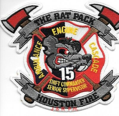 """*NEW*  Houston Station - 15  """"Rat Pack"""", Texas (5.5"""" x 4.75"""" size)  fire patch"""