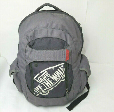 Vans OFF THE WALL Logo Skateboard Backpack with Skate Board Straps GRAY Vintage