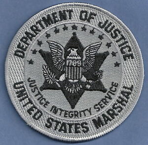UNITED STATES MARSHAL DOJ POLICE PATCH SUBDUED GRAY