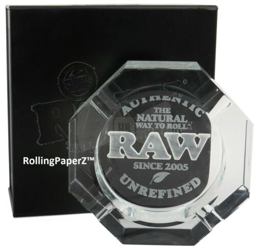RAW Rolling Papers Etched Crystal Leaded Glass ASH TRAY - LIMITED EDITION