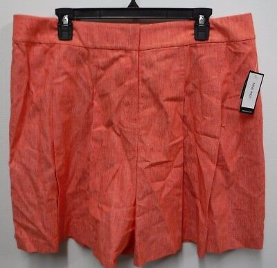 Nine West Womens 16 Tangerine Cotton & Linen Pleated Twill Culottes Shorts New - Cotton / Linen Twill Shorts