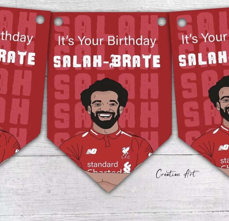 It's Your Birthday Mo Salah PARTY Football, Liverpool COLOURS BUNTING DECORATION