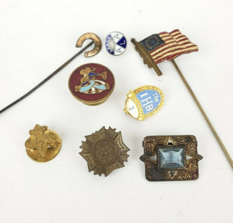 Group Of Misc Estate Found Misc. Antique Pins, Enamel Flag Etc.