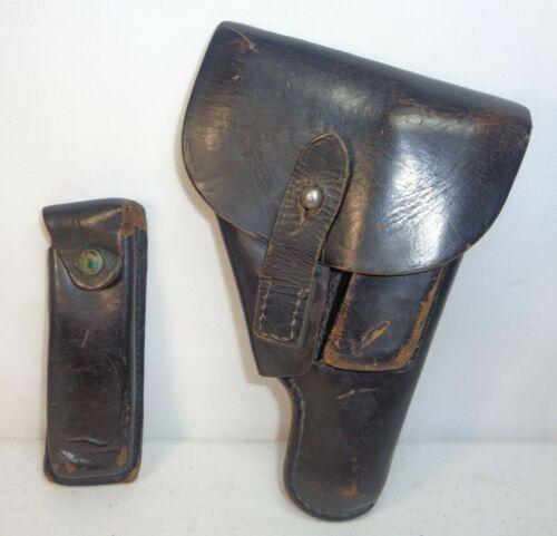 West German Walther PPK/Mauser HSc Pistol Black Leather Holster +Mag Belt Clip 1
