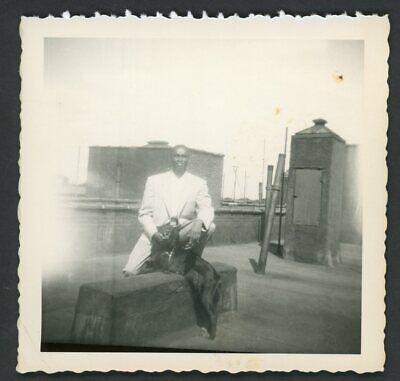 Stylish African American Man Suit Dog Snapshot Photo 1950s Fashion NYC (Mens Stylish Photos)