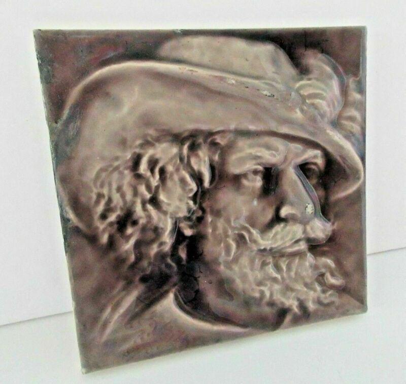 Kensington Art Tile Co Tile Relief Portrait Profile Of Gentleman In A Hat Purple