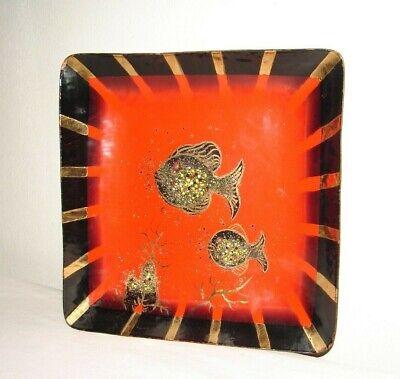 Vintage MCM Enamel Decorative Art Fish Plate By Harold Tishler