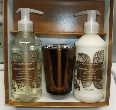 Williams Sonoma Spiced Chestnut Guest Essentials Set Candle Hand Soap & Lotion * Essentials Hand Lotion