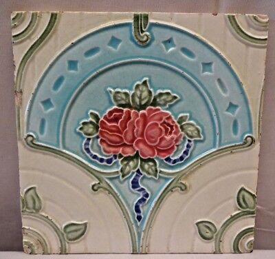 TILE VINTAGE MAJOLICA PORCELAIN ART NOUVEAU ENGLAND ARCHITECTURE COLLECTIBLES#68