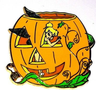 Disney Pin✿ Tinker Bell Tink Happy Halloween Pumpkin Carved Jack OLantern Peek  - Tinkerbell Halloween Pumpkin