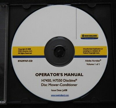 Genuine New Holland H7450 H7550 Discbine Disc Mower Conditioner Operators Manual
