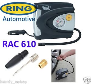 Ring RAC610 12v Car Tyre Analogue Gauge Air Compressor Inflator Electric Pump