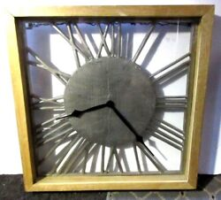 Large Wall Clock Vintage Style Square Metal Roman Numerals Home