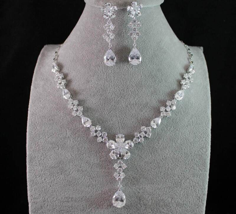 DAISY CZ CUBIC ZIRCONIA CRYSTAL NECKLACE EARRINGS SET WEDDING BRIDAL PROM CZ1839