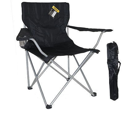 BLACK FOLDING CAMPING CHAIR FESTIVAL HIKING FISHING GARDEN INDOOR OUTDOOR SEAT