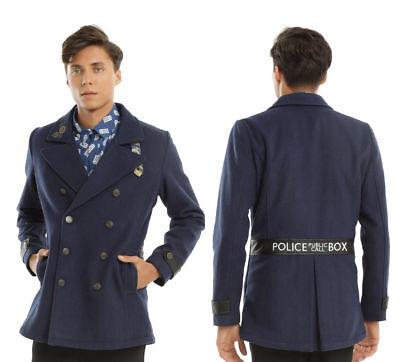 BBC Doctor Who TARDIS Police Call Box Navy Peacoat Military Style Coat Jacket