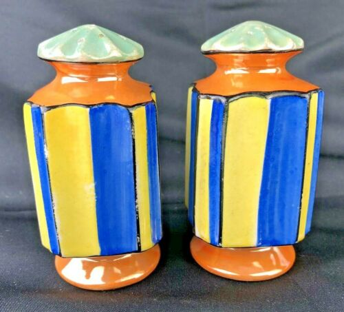 BOLD Art Deco Made IN Japan Lusterware Vintage Salt & Pepper Shakers!
