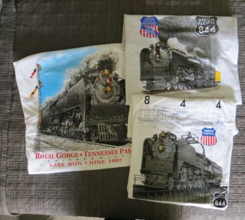 3 Railroad T-shirts new extra-large XL 844 engine Union Pacific Railway Steam
