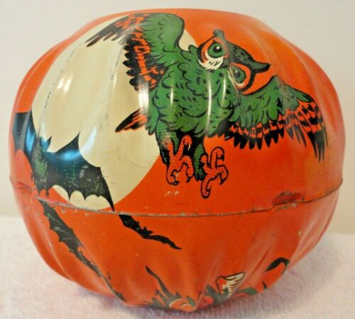VTG HALLOWEEN TIN LITHOGRAPH NOISEMAKER JOL US METAL TOY MFG. CO CANDY CONTAINER
