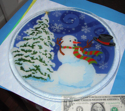 Peggy Karr Fused Art Glass Plate Windy Snowman Round 11""