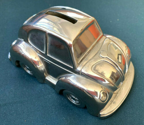 Vintage Volkswagen Beetle Coin Bank Silverplate Banthrico ?