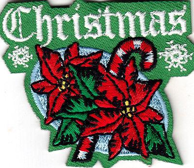 """CHRISTMAS"" Iron On Patch Holiday Poinsettia Santa"