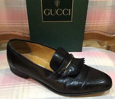 Vintage GUCCI Black Leather Tassel Loafers 43.5/10 Silver Double G Horse Bit