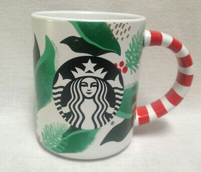 2019 STARBUCKS Christmas Coffee Mug w/Candy Cane Handle & Mermaid LOGO ~ 12 oz