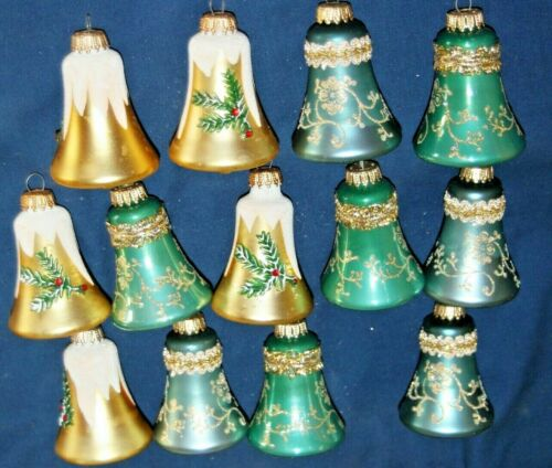 ESTATE WEST GERMANY LOT OF 13 BELL TYPE CHRISTMAS ORNAMENTS 3 COLORS LACE GOLD