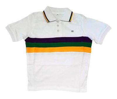 Child Small Mardi Gras Rugby White Purple Green Yellow Knit SS Shirt](Kids Mardi Gras Shirts)