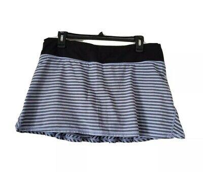 LULULEMON Sz 10 Polar Haze Gray Classic Stripe PACE SETTER Skirt Skort #1134