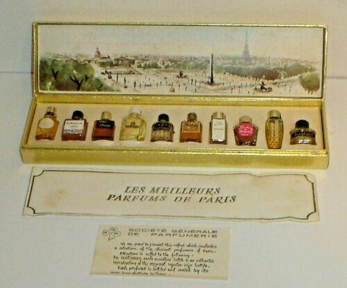 Vintage Les Meilleurs Parfums de Paris 10 Miniature Perfume Bottles w/ Box  Etc.