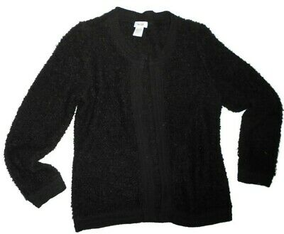 Kate Hill Eclectic Equestrian Black Wool loopy knit Cardigan Large retail $94