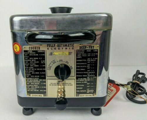 Vintage 1950s Mid Century Eastern Metal Co Electric Stainless Deep Fryer DF15